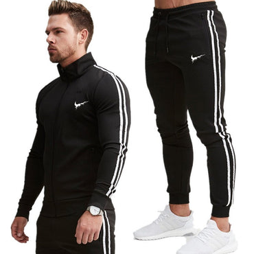 Brand new zipper cardigan men's sportswear suit jacket men+ casual fitness jogging pants clothing two-piece set Men clothes