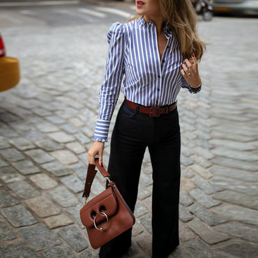Striped Puffed Sleeve Frill Hem Casual Blouse Women Long Sleeve Stripes Shirt Elegant Ladies Workwear Top Blusas Mujer 2019
