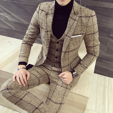 luxury suit ( Blazer + Vest + pant ) Plaid stripes mens suits 2019 Asia size S-5XL High quality tuxedo men suits three-piece set