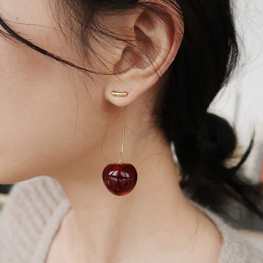 New European and American Fruit Fashion Long Ear Nail Temperament Cherry Cherry Earrings Lady Earrings