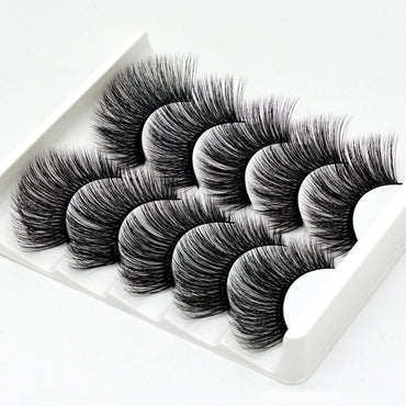 SEXYSHEEP 5Pairs 3D Mink Hair False Eyelashes Natural/Thick Long Eye Lashes Wispy Makeup Beauty Extension Tools