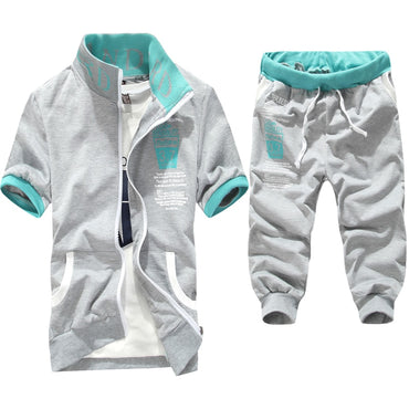 2019 new arrivals fashion men short sleeve tracksuit casual sporting suit hoodies and shorts M-XXL AYG276