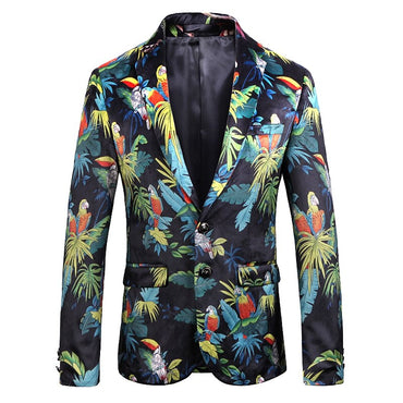 Plus Size 6XL Velvet Casual Blazer Men Parrot Floral Printing Streetwear Suits &Blazer 2019 New Autumn Fancy Suit Jackets Male