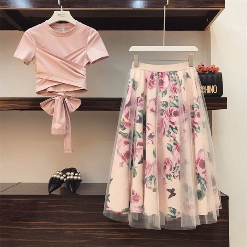 HIGH QUALITY Women Irregular T Shirt+Mesh Skirts Suits Bowknot Solid Tops Vintage Floral Skirt Sets Elegant Woman Two Piece Set
