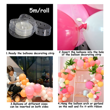 Ballons Accessories 5M Balloon Chain PVC Rubber Wedding Party Birthday Backdrop Decor Balloon Chain Arch Decor Happy Birthday