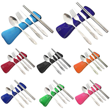 Wholesale Stainless Steel Fork Spoon Chopsticks with Pocket Bag Outdoor Sports Camping Picnic Tableware Cutlery Set Party