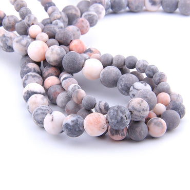 VINSWET 6 8 10 12mm Matte natural Stone beads Pink Zebra round bead spacer jewelry Beads For jewelry Making Bracelet Necklace