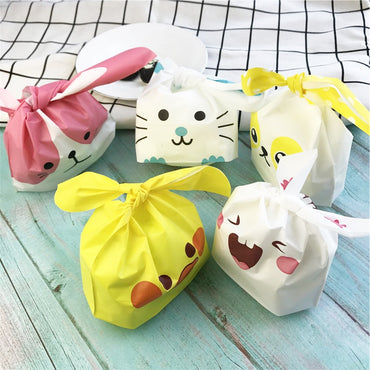 10pcs/lot Cute Rabbit Ear Cookie Bags Gift Bags For Candy Biscuits Snack Baking Package Wedding Favors Gifts Easter decoration