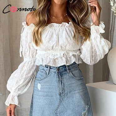 Conmoto Vintage White Embroidery Women Crop Tops and Blouse 2019 NEW Off Shoulder Slash Neck Blouse Girl Lantern Sleeve Shirt