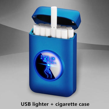New USB lighter and cigarette box case Creative Graphic display USB charging Windproof flameless Electronic Cigarette lighter
