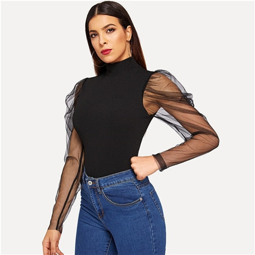 SHEIN Going Out Highstreet Black Mesh Gigot Sleeve High Neck Fitted Top 2018 Autumn Casual Women Modern Lady Tshirt Top