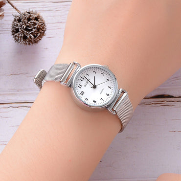 Simple silver watches women blue stainless steel mesh strap fashion casual wild quartz bracelet watch relogio feminino &Ff