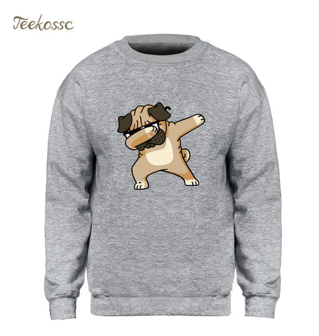 Dabbing Pug Sweatshirt Men Print Funny Hoodie Kpop Hip Hop Crewneck Sweatshirts Winter Autumn Graphics Design Brand Clothing