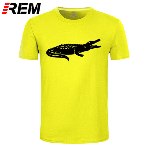REM New Arrival Summer Fashion Casual Short-Sleeved T-Shirt Crocodile Animal Print Brand Clothing Cotton Mens Tee High Quality