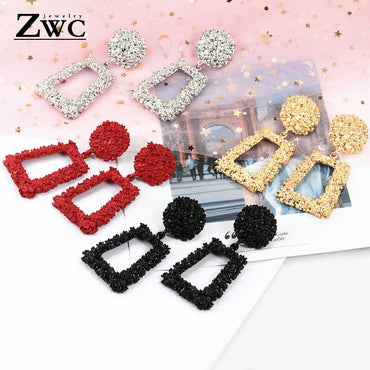 ZWC New Elegant Big Vintage Metal Earrings for Women Gold Color Geometric Statement Drop Earring Hanging Fashion Trend Jewelry