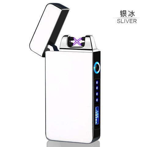 LED Power Display USB Charging Pulse Lighter Hot Sale Double Arc Cigar Plasma Lighter Windproof Electronic Cigarette Lighter