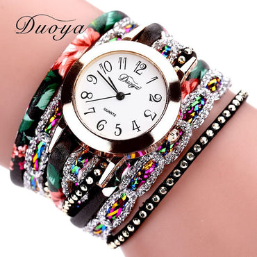 Fashion 2019 Watches Women Popular Quartz Watch Luxury Bracelet Flower Gemstone Wristwatch Casual Bracelet Watch Valentine Gift