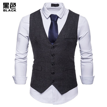 Fashion Suit Vest Men Formal Dress Vest Colete Masculino Herringbone Gilet Fitness Sleeveless Jacket Wedding Waistcoat Men XXL