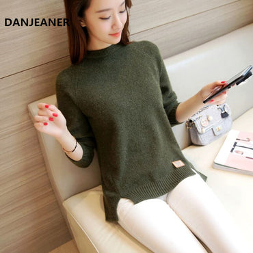Danjeaner 2018 Women Sweaters and Pullovers Autumn Winter Long Sleeve Pull Femme Solid Pullover Female Casual Knitted Sweater