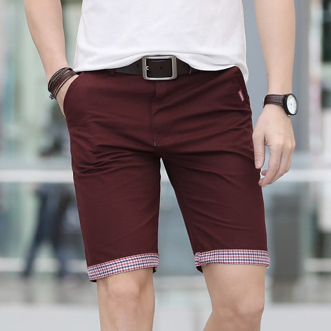 Solid Shorts Men Plaid Ruched Hem Short Male Fashion Shorts Plus Size Summer Mens Shorts Cotton Casual Brand Style marque homme