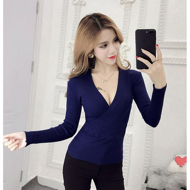 2019 New Sexy Deep V-Neck Ladies Sweater Women's Pullover Casual Slim Bottoming Sweaters Female Elastic Cotton Long Sleeve Tops