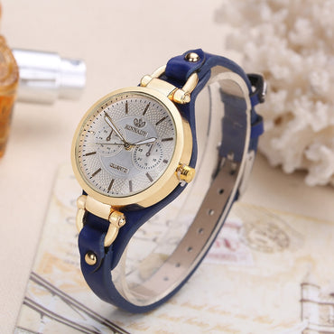 Fashion Brand Hot Womens Casual Leather quartz rose gold Watch Ladies bracelet Watches luxury reloj mujer clock Free shipping