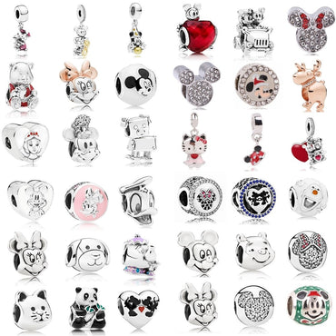 AIFEILI Women's Bracelet Jewelry European Charm Beads Personality Pendant Series Suitable for Pandora Mickey Katie Lovely