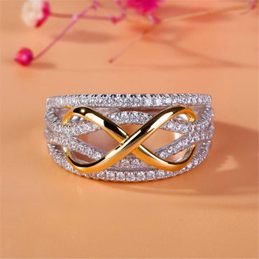 LOREDANA  Ladies fashion micro - inlaid zircon creative closed cycle style metal ring.Multicolored ornament suits party wedding