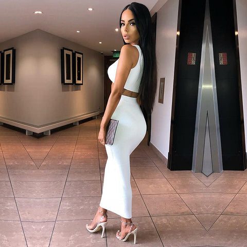 NewAsia Garden Two Piece Set 2 Piece Set Women Winter Ribbed Crop Top And Skirt Set Matching Sets Woman Two Pieces Outfits White