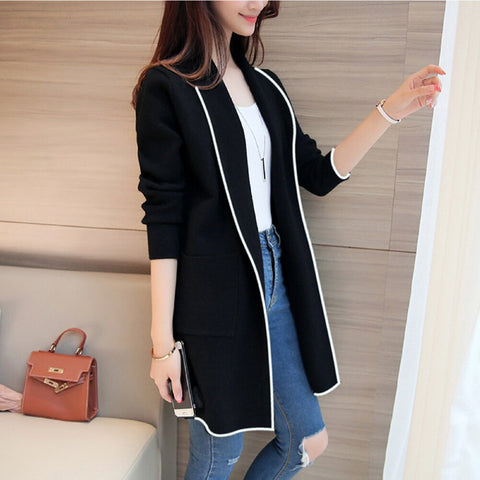2019 Fashion Casual Women's Long Sleeve Cardigan Coat Jacket Slim Loose Plus Size M-3XL OL Pockets Coat Turn-down Collar Jackets