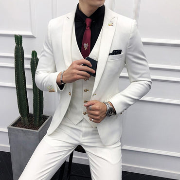 (Blazer+Vest+Pants) 9 Color Luxury Men's Business Casual Suit Dress High Quality Groom Wedding Fashion Men Slim Suit 3 Piece Set