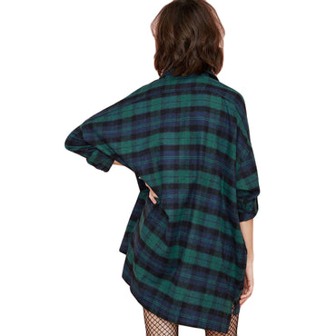 Plus Size 3XL 4XL 5XL Summer Tops Plaid Shirts Blouses Women Tartan Shirt Long Sleeve Baggy Check Blouse Oversized female tunics