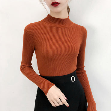 SVOKOR Sweater Women Solid Slim Half-neckline Warm Knitwear Winter Long Sleeve Turtleneck Top