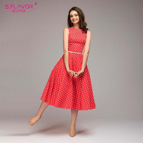 S.FLAVOR Women Vintage Dress Sleeveless O-neck Vestidos De Festa Women Elegant Thin Dot Printing Mid-Calf Casual Dress Female