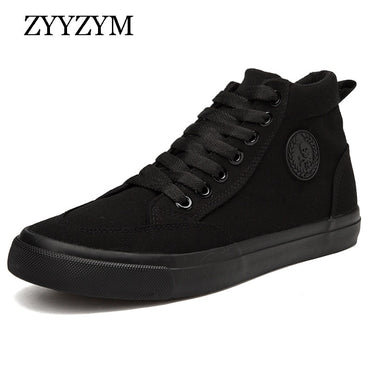 ZYYZYM Shoes Men Spring Autumn 2019 Lace-up High Top Style Men Vulcanize Shoes Fashion Flats Youth Men Canvas Shoes Sneakers