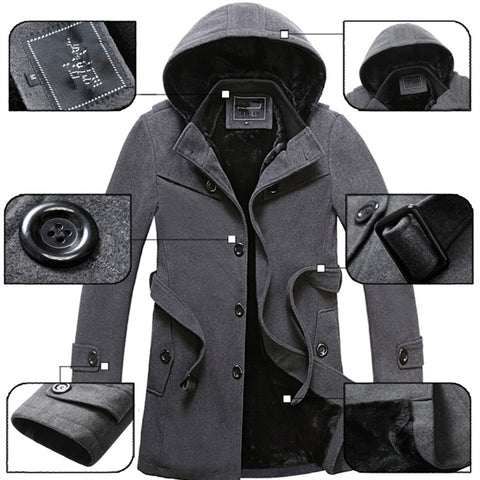 2019 Winter Trench Coat Men Fashion Long Overcoat men Hot Sale Woollen Coat Thick Men's Clothing Size 4XL Wool Jackets