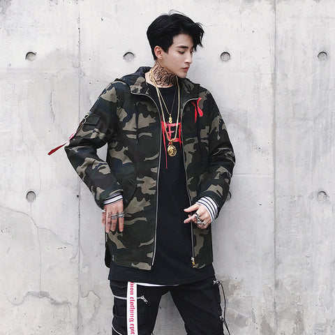 Mens Jacket High Street Spring Men Camouflage X Print Jackets Fashion Cotton Windbreaker Coat Male Hood Hip Hop Streetwear WJ030