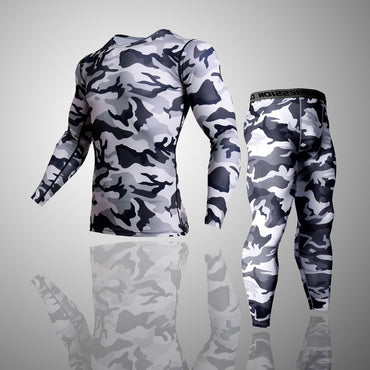 2 Piece Tracksuit Men Compression MMA Long sleeve t shirt Rashgard kit Camouflage  Sweatshirt+leggings Fitness Thermal underwear