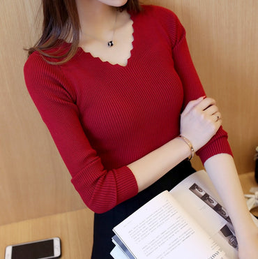 Autumn And Winter Women's Wear 2018 New Baseboard Long Sleeve Knitted Shirt V-collar Elasticity Short Slim Black Sweater