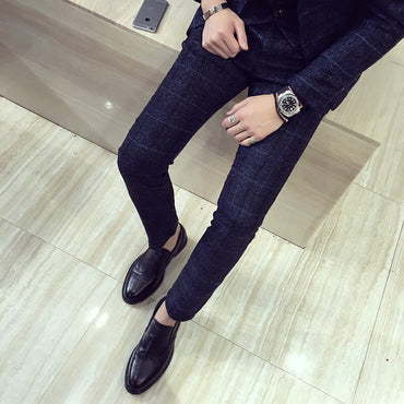 Perfume Masculino Costume Pantalon Homme 2019 Spring New Plus Size Elastic Dress Pants Korea Slim Fit Casual Men Suit Pants 5XL