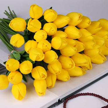 10 Pcs beauty Real touch flowers latex Tulips flower Artificial Bouquet Fake flower bridal bouquet decorate flowers for wedding