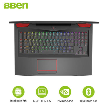Bben laptop 17.3inch FHD Intel QUAD Core i7-7700HQ CPU DDR4 RAM 16G , 256G SSD ,1TB HDD NVIDIA GEFORCE GTX1060 Windows 10