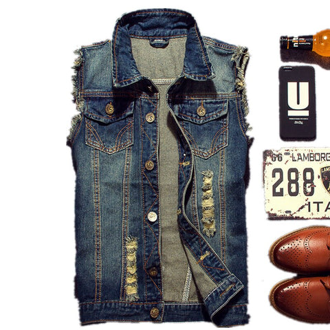 2019 Ripped Jean Jacket Men's Denim Vest Hip Hop Jean Coats Waistcoat Men Cowboy Brand Sleeveless Jacket Male Tank Plus Size 6XL