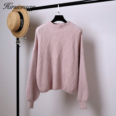 Hirsionsan Pull Femme 2019 Winter Autumn Oversized Knitted Cashmere Sweater Women Lantern Sleeve Diamond Basic Thicken Pullovers