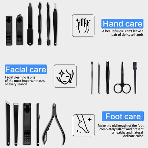 New 16 In 1 Nail Cutter Professional Stainless Steel Scissors Grooming kit Art Cuticle Utility Tools Nail Clipper Manicure Set