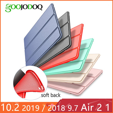 "For iPad Air 2 Air 1 Case 2018 9.7 Funda Silicone Soft Back 2017 Pu Leather Smart Case for iPad 6th generation Case 10.2"" 2019"