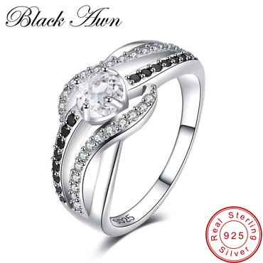 [BLACK AWN] Fine 3.5G Genuine 925 Sterling Silver Jewelry Trendy Engagement Rings for Women Wedding Ring C047