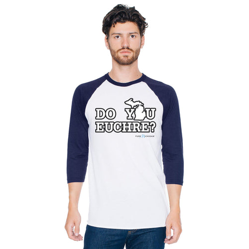 White/Navy Raglan w/Do You Euchre?