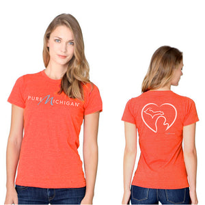 Juniors' Tomato T-Shirt w/Pure Michigan Logo & Michigan Love