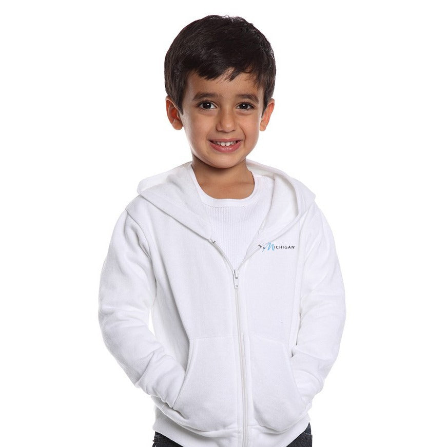 Toddlers' White Zip-Up Hoodie Front w/Pure Michigan Logo